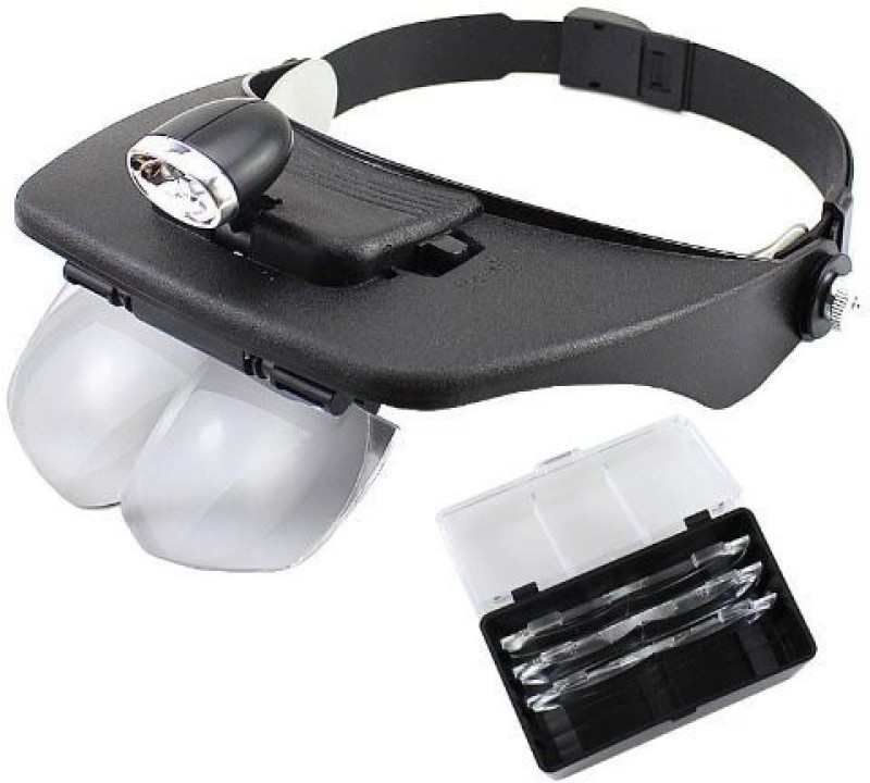 Pia International LED Head light with Hands Free 3X Magnifying Glass(Black, White)