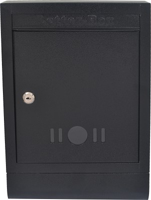Klaxon Black Letter Box with Magazine Holder Wall Mounted Mailbox