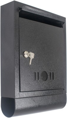 Klaxon Black Letter Box with Magazine Holder Wall Mounted Mailbox(Black)