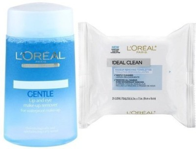 L,Oreal Paris Gentle Lip And Eye Make-Up Remover + Ideal Clean(125 ml)