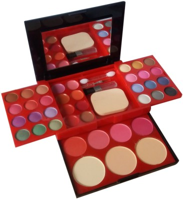 ADS 24Eyeshadow--3CompactPowder--4Blusher--8Lipcolor--1Puff--1Mirror--Makeupkit