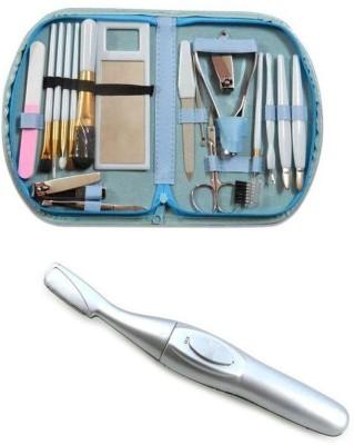 NewveZ Portable Make Up Cosmetics Brush Gift Set Tool Kit With Eyebrow Trimmer