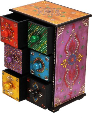 Shreeng Six drawer embossed wooden box