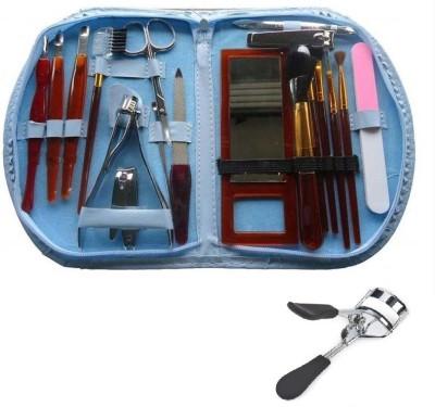 NewveZ Portable 18 in 1 Make Up Cosmetics Brush Gift Set Tool Kit With Eyelash Curler