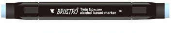 Brustro Double Sided Round Tip, Broad Tip Alcohol Based Permanent Markers(Set of 1, Blue)