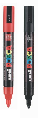 Posca PC-5M Bullet Tip Water Based Poster Marker(Set of 2, Red, Blue)