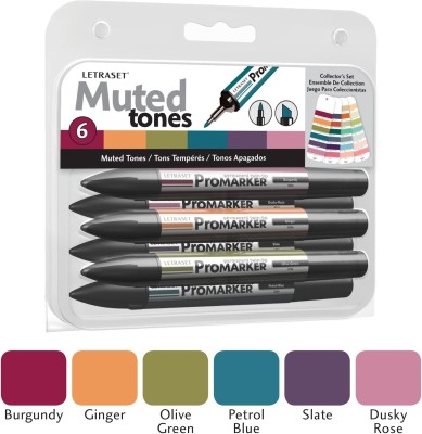 Letraset ProMarker Collector's Muted Tones Marker(Set of 6)