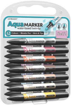 Letraset AquaMarker Brush Shaped Tip Permanent Water-based Marker