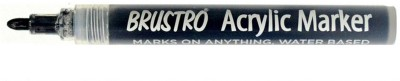 Brustro Single Sided Round Tip Acrylic Permanent Markers(Set of 1, Black)