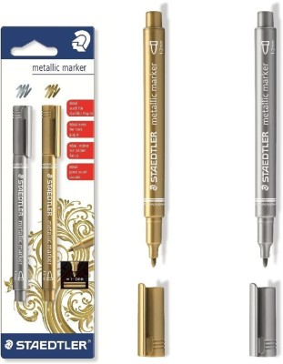 Staedtler Metallic Bullet Tip Non Permanent Coloring Markers(Set of 2, Gold, Silver)