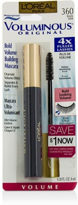 L,Oreal Paris Voluminous Waterproof Mascara - # Black 8 ml