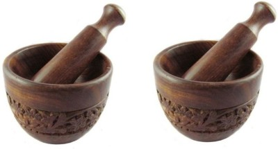 Onlineshoppee Hand Carved Okhli Wooden Masher(Brown, Pack of 4)