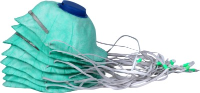 Breathers Go HI Performer!HI Comfort! [Green,Valved ,Superior design,Premium adjustable elastic bands] Pack of 8 MP-2VF Plus Respirator
