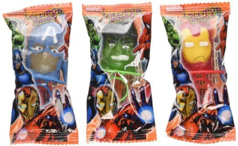 Marvel Decorated Lollipops Rings Fruit Flavored Rings NET WT Party Mask(Multicolor, Pack of 3)