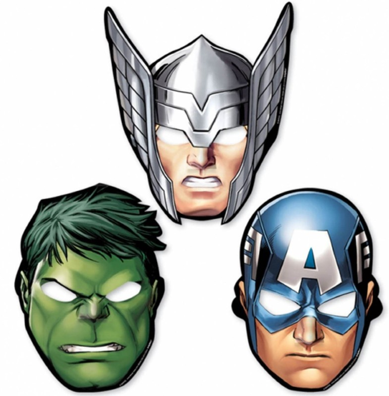 Amscan The Avengers Paper Mask Party Mask(Multicolor, Pack of 3)