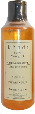 Khadi Natural Herbal Orange & Lemongrass Massage Oil (Citrus Sweet Aroma) - SLS & Paraben Free(210 ml)