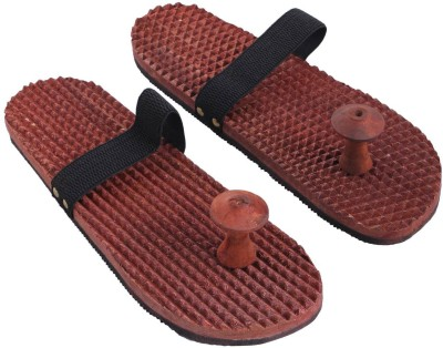 Craft Art India AA-CAI-HD-0022-A Handmade Wooden Relaxing Acupressure Slippers / Chappals For Good Health Massager
