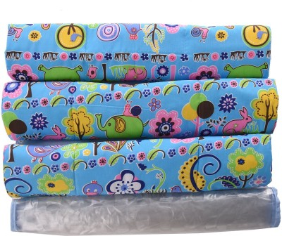 Baby Bucket PVC, Cotton Free Sleeping Mat Multi Purpose Baby Mat Jungle Print Set Of 3 + 1