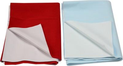 Eazidry Cotton Medium Sleeping Mat Combo of Eazidry Plain waterproof Red Small + Blue small dry sheets