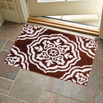 KunalHomeConcept Latex Rubber Small Bath Mat Brown Medallion Bathmat