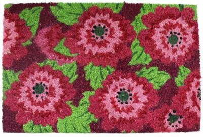 TEZERAC Coir Medium Door Mat OGILVIE PINK FLOWER PRINT