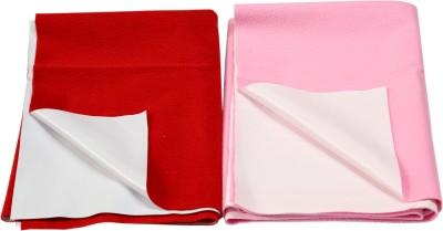 Eazidry Cotton Medium Sleeping Mat Combo of Eazidry Plain waterproof Red Small+Pink Small dry sheets