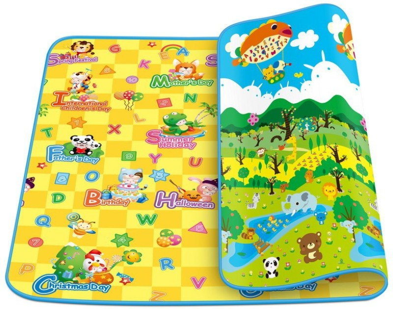 Kids World Polyester Pongee Play Mat Baby Playing Mat(Multicolor, Extra...