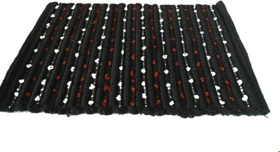 Mrignayaneei Cotton Medium Door Mat Black Cotton mat