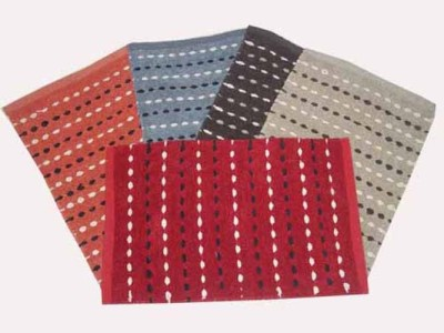 Peponi Polyester Small Door Mat Peponi Décor Dotted Cotton Schenell Floor Mat Set of 5