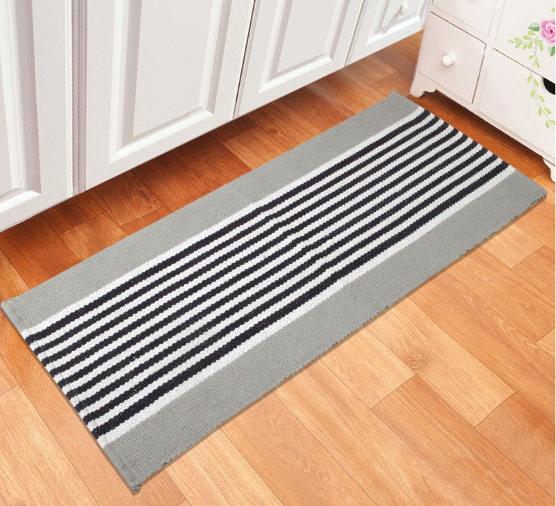 Saral Home Cotton Anti-slip/Anti-grease Mat Stripe Design Cotton Bed Side or Kitchen Runner- 45X120 Cm -1Pc(Grey, Medium)