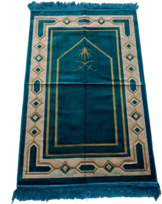 Fiable Polyester Large Prayer Mat Premium Velvet Janemaz - (Blue)(Blue, 1 Janemaz)
