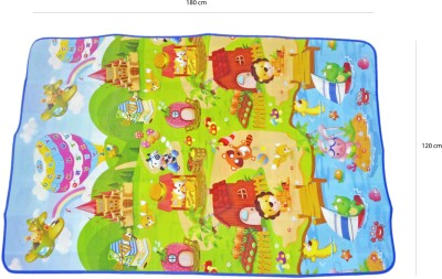Babysid Collections Non-woven, Microfiber, Plastic, Polyester Pongee Large Play Mat Baby Multipurpose/ Play Mat - FunFair Animals (can be used both sides) - 120cm X180cm