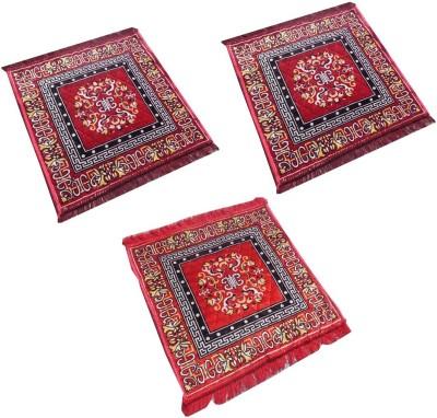 Yellow Weaves Polyester Medium Prayer Mat Ethnic Design Set of 3 Aasan