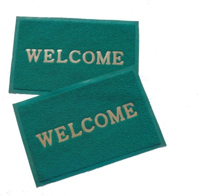 Home Fashion PVC Medium Door Mat Home Fashion Green Welcome Plastic Medium Door Mat - set of 2