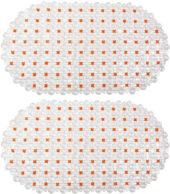 Winner PVC Large Bath Mat Indoor Non Slip White & Orange Bath Mat - 30005201(Orange, 2 Bath Math)
