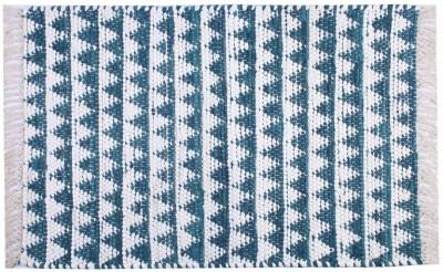 Homenblingss Cotton Small Door Mat Triangles Blue Rug