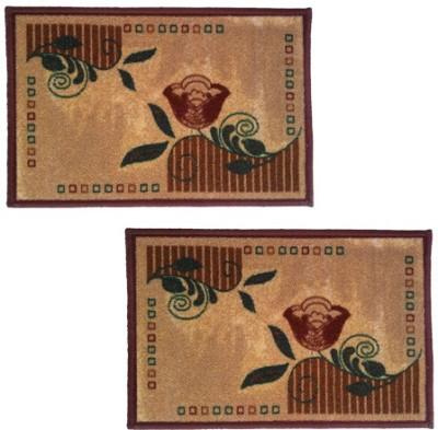 Firangi Cotton, Polyester Free Floor Mat Set of 2 Decorative Printed Door Mat