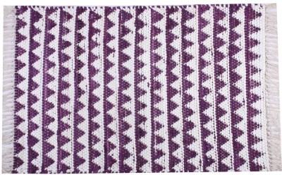 Homenblingss Cotton Small Door Mat Triangles Purple Rug