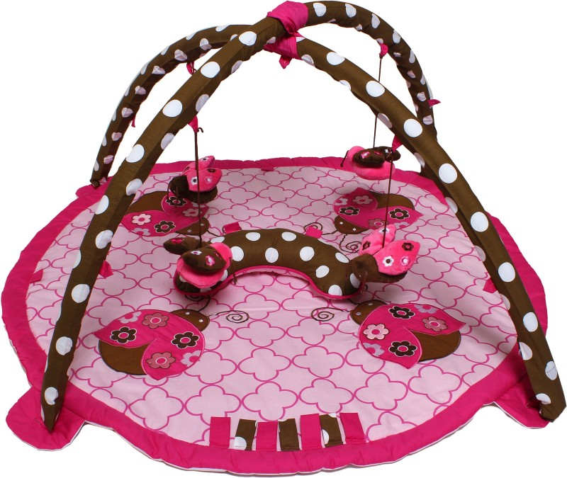 Bacati Cotton Gym Mat Ladybug(Pink, Brown, Free)