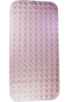 Saira Rubber, PVC Medium Bath Mat Pink Rectangular Synthetic Material with Suction Cups