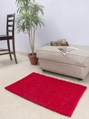 House This Cotton Medium Floor Mat Floor Rug(Red, 1 Floor Rug)