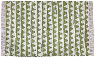 Homenblingss Cotton Small Door Mat Triangles Sage Rug