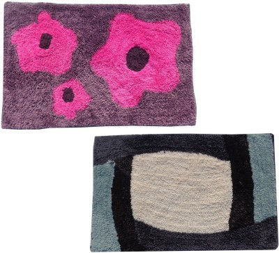 Home Fashion Microfiber Medium Door Mat Purple & Gray Microfiber Medium 2 Piece Door Mat