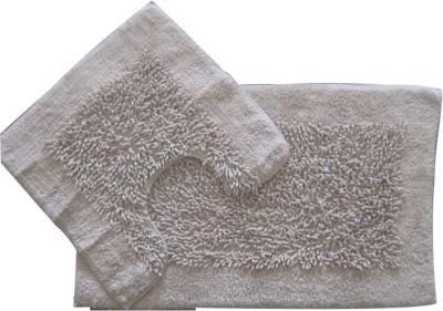 Krishna Carpets Cotton Large Bath Mat 50 x 80 & 50 x 50 Cm Beige Color Bathmat Set