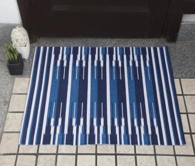 House This Cotton Free Floor Mat Floor Rug(Blue, 1 Floor Mat)