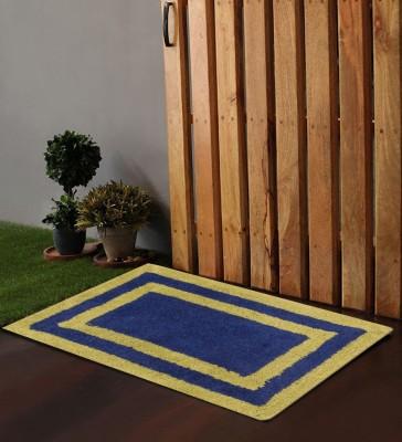 POBO Cotton Medium Floor Mat Po Box Multi Border Blue 1 Bath Rug 24