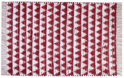 Homenblingss Cotton Small Door Mat Triangles Burgundy Rug