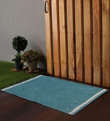 POBO Cotton Medium Door Mat Po Box Vertical Stripes Blue& White 1 Bath Rug 24