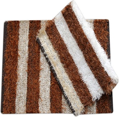 Furnishing Kingdom Polyester Medium Door Mat Fk Beidge Brown Polyster Fur Based Door Mats
