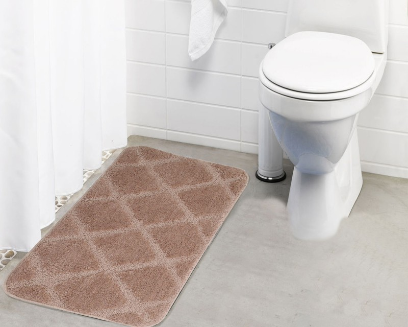 Lushomes Microfiber Bath Mat Anti Rubber Coated(Beige, Medium)